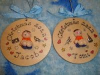 3d Boys Tree Wall Hanger Decoration Bauble Christmas or Birthday Sign Any Phrasing or year Personalised Gift